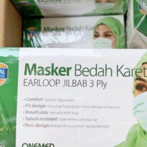 Masker Hijab Karet 3 ply Headloop Onemed di Perkasa Medika Malang